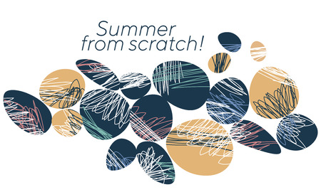 Abstract summer holidays banner template. Stylized pebbles with chaotic scratch lines. Decorative ovals, ellipses with freehand scribbles on white background. Creative travel agency promo typography Banque d'images - 124617496