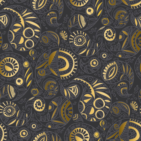 Modern elegant gray and gold paisley seamless pattern for textile, fabric, wrapping paper, web and print design. Hand drawn luxury oriental motif for decor. vector illustration.