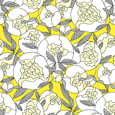 White garden peon seamless pattern for textile, wrapping paper, background, web and print project. Repeatable hand drawn blooming motif in pastel colors.  Vector illustration. Banque d'images - 124617513