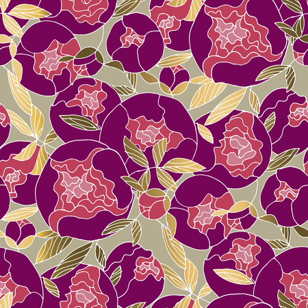 Elegant luxury peonies bud seamless pattern for textile, wrapping paper, background, web and print project. Repeatable hand drawn floral motif in deep purple and gold colors. Vector illustration.