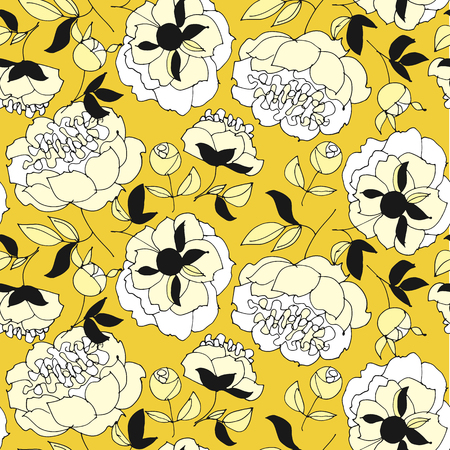 Tender spring peonies seamless pattern in yellow and white. Fabric rapport with honey gold floral elements. Repitable motif for wrap, surface design, background, textile. Banque d'images - 124617516