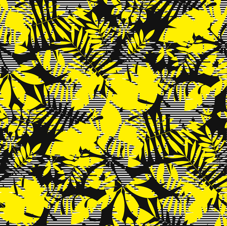 Tropical jungle foliage seamless pattern with bright contrast of yellow and black. Exotic leaves rapport. Summer camouflage motif for background, textile, fabric, wrapping paper. vector illustration Banque d'images - 124617517