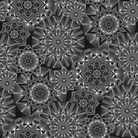 Geometrical monochrome flowers vector seamless pattern. Abstract outline stars and flowers wallpaper. White lines creative ornament on black background. Retro elegant shapes backdrop Banque d'images - 124617518