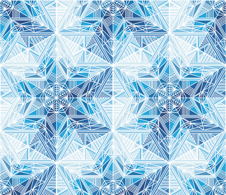 Abstract frozen stars, snowflakes seamless pattern. Blue ice, frost winter backdrop. Mosaic, kaleidoscope wallpaper. Triangles and lines ornament. Polygonal crystal snow vector background Banque d'images - 124620058