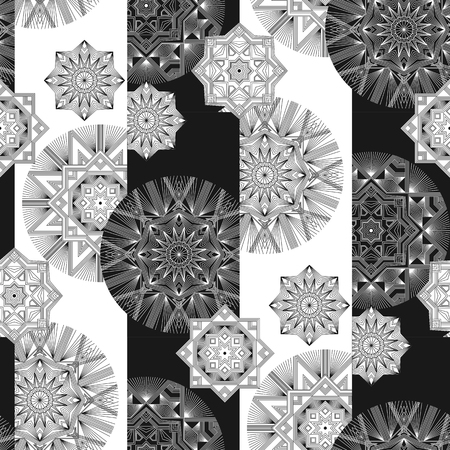 Geometrical thin line snow vector seamless pattern. Abstract outline stars and flowers wallpaper. Lines ornament on black and white stripes background. Monochrome retro shapes backdrop Banque d'images - 124620059