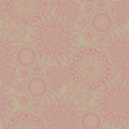 Geometrical irregular flowers vector seamless pattern. Abstract outline stars and flowers wallpaper. Pink lines creative ornament on beige background. Retro elegant shapes backdrop Banque d'images - 124620066