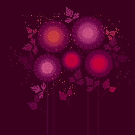 Abstract asters vector color illustration. Geometrical flowers with leaves on stems. Pink chrysanthemum blossoms, spring garden. Daisies purple and violet petals, botanical backdrop Banque d'images - 124620068