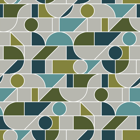 Abstract geometric line mesh seamless pattern in retro 70s olive green hues. Minimal gray and teal repeatable motif for wrap, textile, background. Elegant minimal line rapport. vector illustration. Vektorové ilustrace