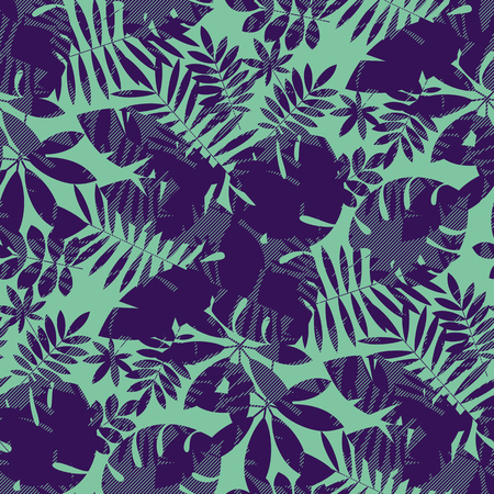 Complex tropical foliage silhouette seamless pattern. Jungle leaves repeatable motif for textile, fabric, wrapping paper, surface design. Natural two colors geometric rapport. Banque d'images - 124620071