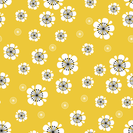 Abstract white sakura blossom seamless pattern. Spring blumming floral rapport in vintage 60s style. Simple flower two colors motif for background, textile, fabric, wrapping paper. Banque d'images - 124620077
