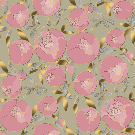 Delicate gold and rosy peonies blossom seamless pattern. Spring peon floral blumming rapport in vintage 60s style. Luxury flower motif for background, textile, fabric, wrapping paper, surface design. Banque d'images - 124620063