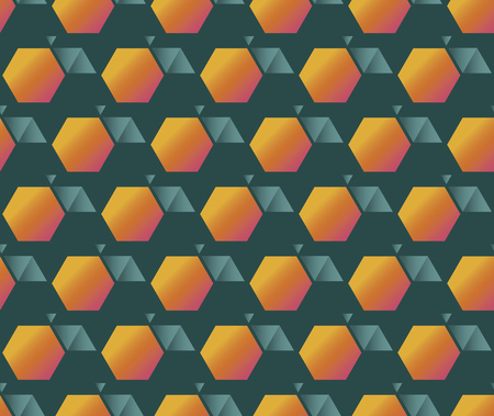 Concept geometric fruit seamless pattern in vintage 70s style. Minimal retro vibes orange and teal orange or peach repeatable motif for wrap, textile, background. Elegant minimal hexagon rapport. vector illustration. Banque d'images - 124620064