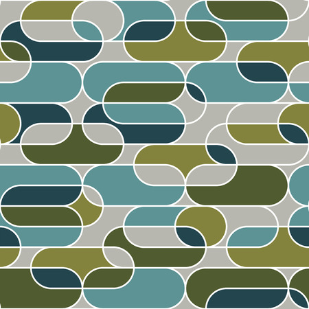 Horizontal oval geometry seamless pattern in vintage 70s style. Minimal retro vibes gray and teal repeatable motif for wrap, textile, background. Elegant minimal line rapport. vector illustration. Banque d'images - 124620072