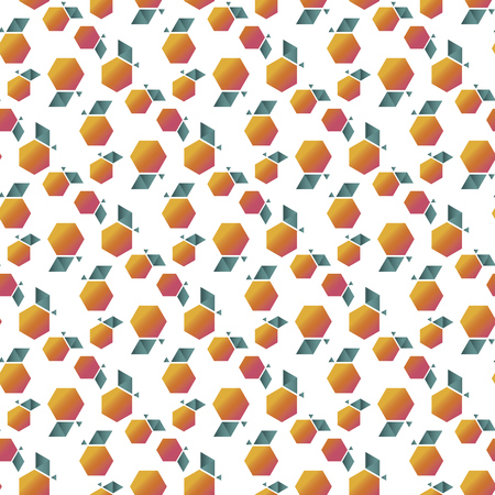 Decorative abstract geometric apple seamless pattern. Minimal summer fruit repeatable motif for wrap, textile, background. Naive minimal orange or peach rapport. Vector illustration.