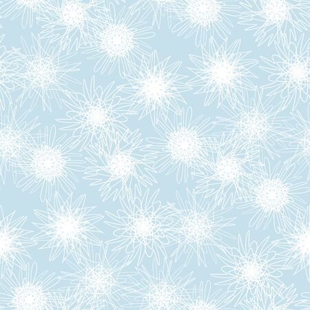 Tender blue xmas snowflakes geometric seamless pattern. Christmas frost flower repeatable motif for wrapping paper, background, winter design projects.