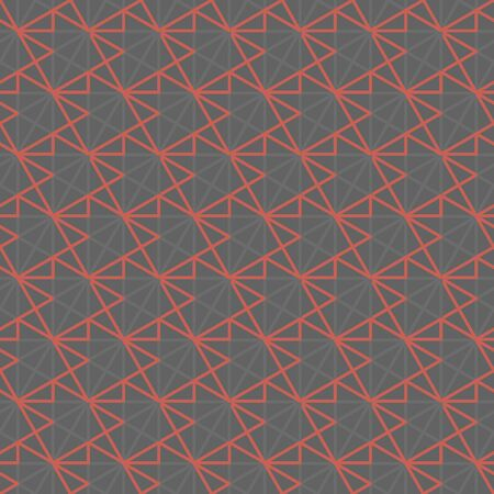 Abstract geometric line mesh seamless pattern. Concept grid in gray and coral pink colors. Repeatable motif for fabric, textile, wrap, surface, web and print design.  イラスト・ベクター素材
