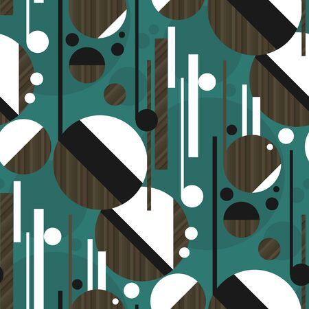 Inspired by music abstract concept geometric seamless pattern. Modern trendy brown wood and emerald green repeatable motif. Rapport for fabric, textile, wrap, surface, web and print design.