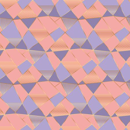 Golden metal frames and pastel colors vintage 70s seamless pattern. Geometric lines and abstract shapes repeatable motif. Vector rapport for textile, surface design, wallpaper, wrap.