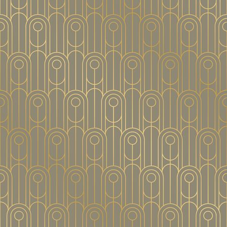 Retro art deco vibes geometric line grid seamless pattern. Concept golden oval frames rapport in mid-century style. Repeatable motif for fabric, textile, wrap, surface, web and print design.