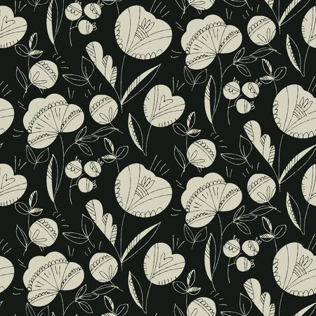 Black and white abstract forest flowers seamless pattern. Hand drawn floral silhouette background motif for textile, web and print surface projects. 写真素材 - 129759208