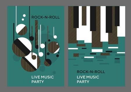 Decorative geometric shapes music poster with texture dynamic composition. Abstract design element for card, header, invitation, poster. Vintage vibes geometry forms panel. Ilustração
