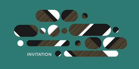 Ling oval shapes horizontal composition. vintage geometric design element with middle age vibes in emerald green, white, black, brown wood texture.