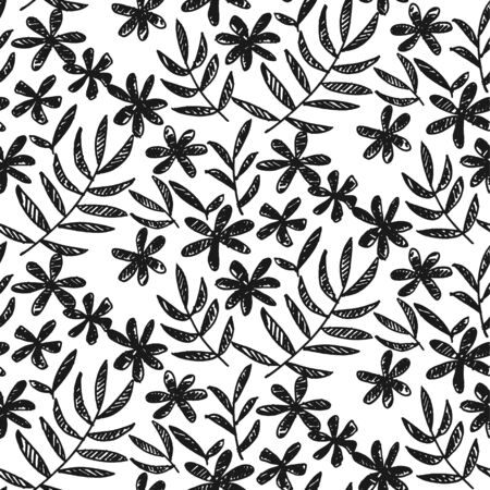 Tropical black and white flowers and leaves seamless pattern. Decorative forest repeatable motif for fabric, textile, web and print surface project. Laconic minimal sketch floral rapport.
