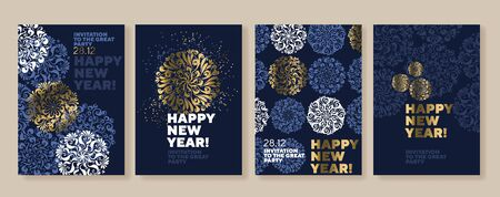 Xmas holiday elegant luxury snowflake poster set. Christmas vector illustration for cards, invitation, cover, header, poster. Xmas winter decorative composition in traditional gold and blue colors.
