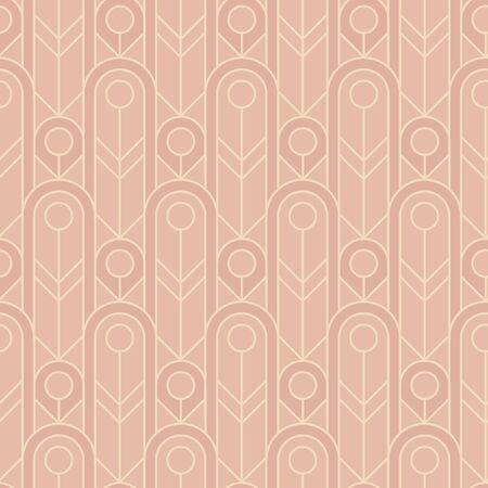 Tender glamorous vintage rosy seamless pattern. Simple elegant geometric lines repeatable motif. Pastel colors trendy oval shapes rapport with art deco vibes.