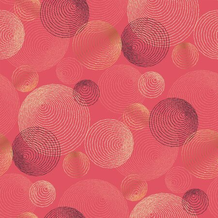Abstract dotted round lines seamless pattern. Boho vibes vector element for textile, surface design, backdrop. Disk and ring tribal graphic shapes in gold and coral color.