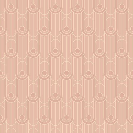 Simple lines elegant geometric lines repeatable motif. Pastel colors oval rapport with art deco vibes for fabric, textile, wrap, surface, web and print design. Vector rosy pink seamless pattern. Illustration