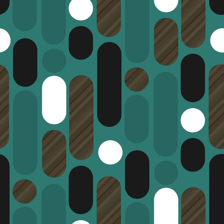 Rounded shapes laconic retro 50s wood texture and emerald green seamless pattern. Vertical trendy long oval repeatable motif for fabric, textile, wrap, surface, web and print design. Ilustração