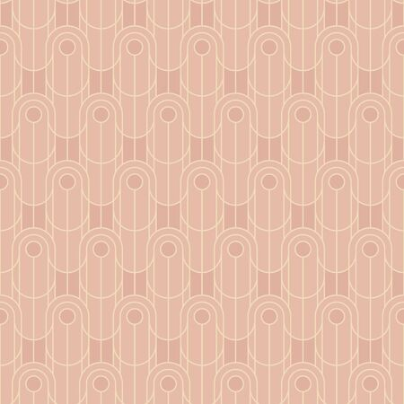 Light elegant vintage rosy seamless pattern. Simple elegant geometric lines repeatable motif. Pastel colors oval rapport with art deco vibes for fabric, textile, wrap, surface, web and print design.