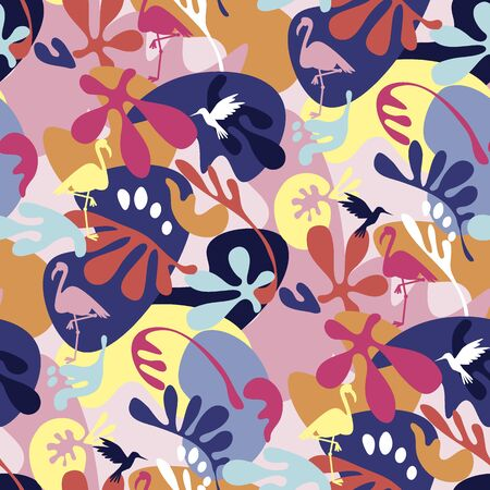 Crazy 90s colors tropical nature seamless pattern. Cool summer vacation repeatable motif for background, wrap, fabric, textile, wrap, surface, web and print design. Tile rapport vector illustration. Ilustração