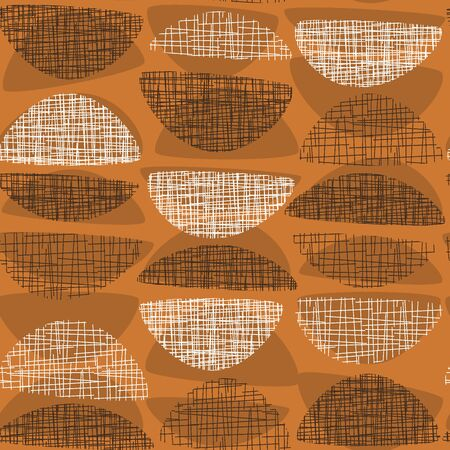 Geometric mid-century style orange textured rapport. Atomic age 50s vibes simple seamless pattern. Abstract rounded geometry repeatable motif for fabric, textile, wrap, surface, web and print design.  イラスト・ベクター素材