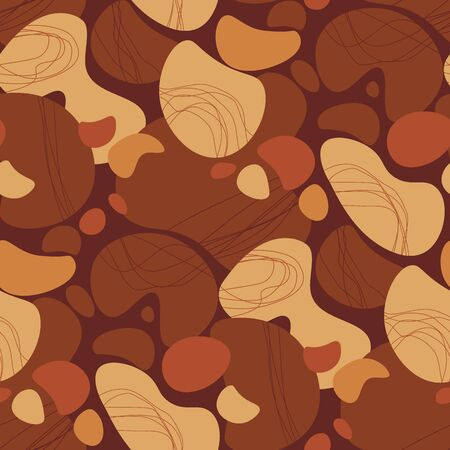 Terracotta colors abstract shapes seamless pattern. Natural rounded repeatable motif for background, wrap, fabric, textile, wrap, surface, web and print design. Фото со стока - 129759291