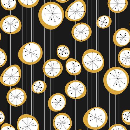 Rapport simple de style rétrofuturisme en noir et blanc. Modèle sans couture de concept d'ambiance atomique des années 50. Motif géométrique abstrait géométrique à pois reproductible pour le tissu, le textile, l'emballage, la surface, le web et la conception d'impression.