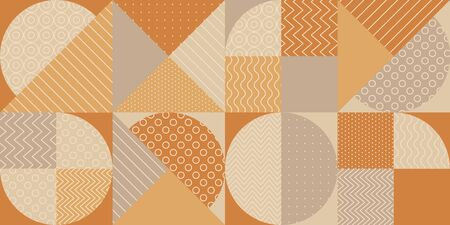 Geometric shapes textures repeatable motif. Tender warm and cold hue vintage vibes seamless pattern. for background, wrap, fabric, textile, wrap, surface, web and print design. 写真素材 - 129759295