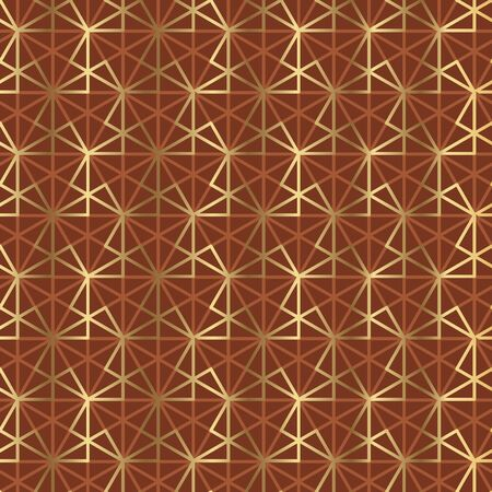 Simple line geometric seamless pattern for background, wrap, fabric, textile, wrap, surface, web and print design. Gold and brown repeatable motif. Vector rapport with oriental japan vibes.  イラスト・ベクター素材