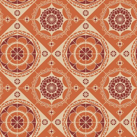 Vintage 70s color vibes lace shapes seamless pattern for background, wrap, fabric, textile, wrap, surface, web and print design. Orange and white elegant luxury repeatable motif. Vector rapport.