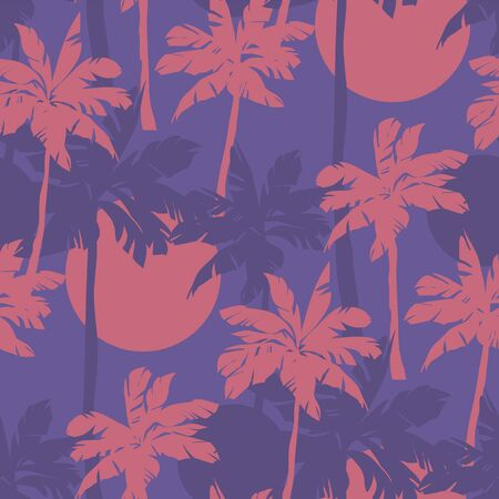 Coral and violet colors vintage palm seamless pattern. Minimal exotic tropical nature summer repeatable motif  for fabric, textile, wrap, surface, web and print design.  イラスト・ベクター素材