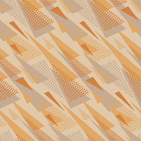 Geometric triangles retro style seamless pattern. Tender warm and cold hue vintage vibes repeatable motif for background, wrap, fabric, textile, wrap, surface, web and print design. Иллюстрация