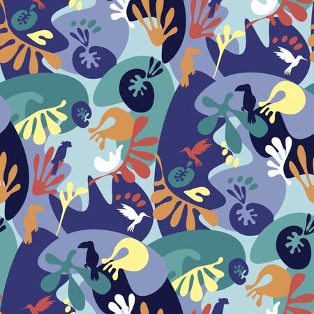 Crazy 90s colors tropical nature seamless pattern. Cool summer vacation repeatable motif for background, wrap, fabric, textile, wrap, surface, web and print design. Tile rapport vector illustration. Illustration