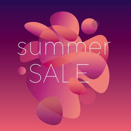 Modern style summer colors sale poster. Pink and purple gradient design composition. Vector illustration for header, card, post, web and print surface design. 向量圖像