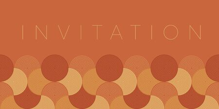 Regular circles and waves pattern for card, header, invitation, poster, social media, post publication. Decorative orange and brown vector element.