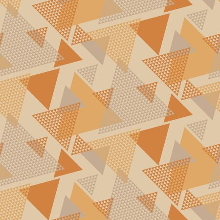 Triangle shapes vintage seamless pattern. Orange and yellow retro vibes repeatable motif for background, wrap, fabric, textile, wrap, surface, web and print design. Illustration