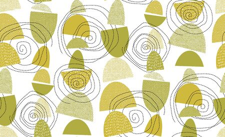 Midcentury 50s vibes geometric seamless pattern. Natural green colors boho hippie style repeatable motif. Abstract geometry rapport for fabric, textile, wrap, surface, web and print design.