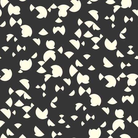 Abstract geometric scattered shapes seamless pattern. Small and large rhombuses and circles rapport for fabric, textile, surface. Design element for web banners, posters, cards, wallpapers, backdrops, panels Black and white vector illustration.