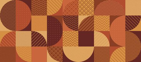 Vintage 70s color geometric semicircles seamless pattern for background, wrap, textile, wrap, surface, web and print design. Orange and brown terracotta patchwork repeatable motif. Vector rapport.