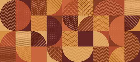 Vintage 70s color geométrico semicírculos de patrones sin fisuras para el diseño de fondo, envoltura, textil, envoltura, superficie, web e impresión. Motivo repetible patchwork terracota naranja y marrón. Comportamiento del vector.